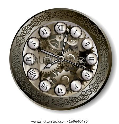 Vintage mechanical roman clock with open mechanism - stock vector