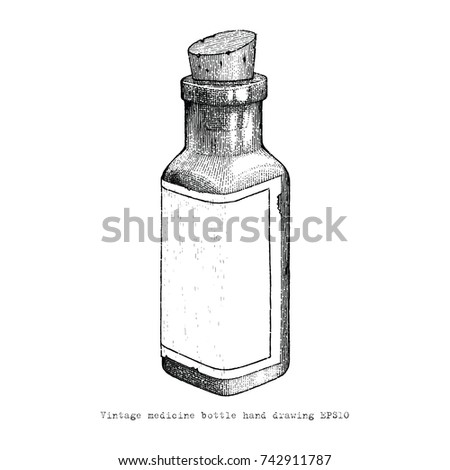 Vintage Medicine Bottle Hand Drawing Style