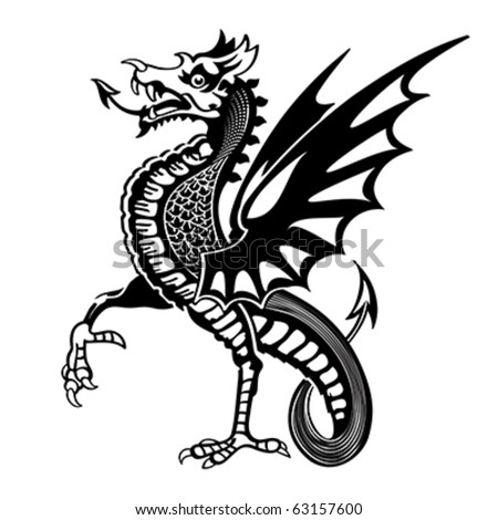 Vintage medieval dragon drawing - stock vector