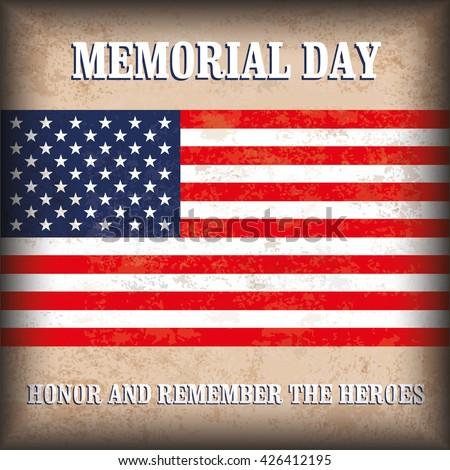 Vintage Memorial Day background design with brown colors and US-Flag. Eps 10 vector file. - stock vector