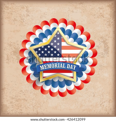 Vintage Memorial Day background design with brown colors and US-Flag golden star. Eps 10 vector file. - stock vector