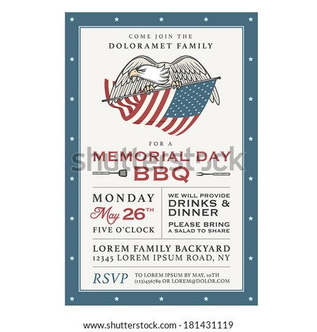 Vintage Memorial Day barbecue invitation - stock vector