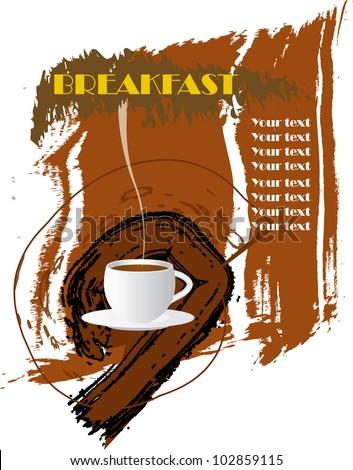 Vintage menu, breakfast card design template, free copy space - stock vector