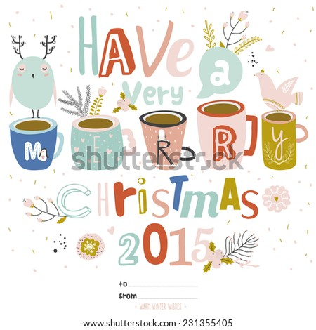 Vintage Merry Christmas And Happy New Year Calligraphic And Typographic Background. Greeting stylish illustration of winter  wishes, dove, owl, flowers, penguin, leafs, snowflakes.  - stock vector