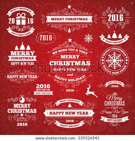Vintage Merry Christmas And Happy New Year Calligraphic And Typographic Background. Vector Illustration - stock vector