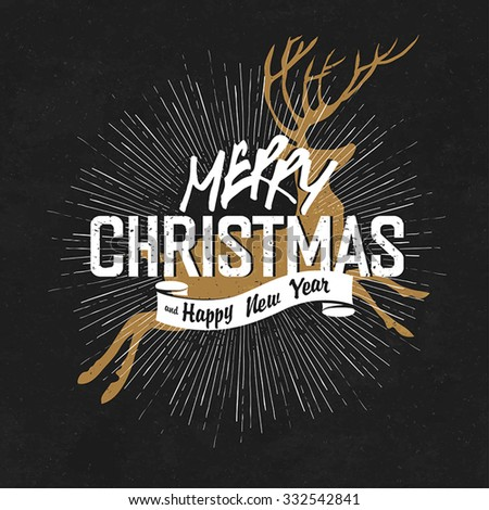 Vintage Merry Christmas And Happy New Year Calligraphic On Blackboard Background  - stock vector