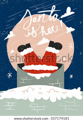 Vintage Merry Christmas And Happy New Year card with Winter Holiday Elements. Greeting hand drawn illustration for Xmas. Santa in chimney  on the roof. - stock vector