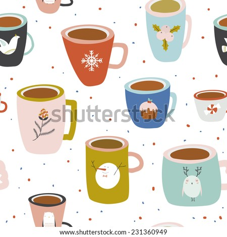 Vintage Merry Christmas And Happy New Year seamless pattern. Greeting stylish illustration with colorful cups with cute pictures. Perfect for wrapping paper and scrapbooking. Winter coffee and tea. - stock vector