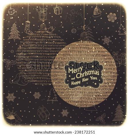 Vintage Merry Christmas Card Design - stock vector