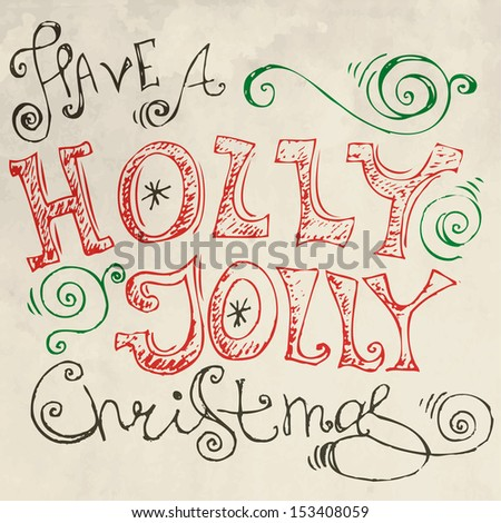 Vintage merry christmas card with hand drawn lettering - stock vector