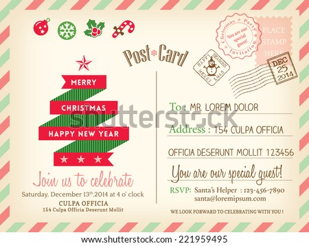 Vintage Merry Christmas holiday postcard background vector template for party greeting card - stock vector