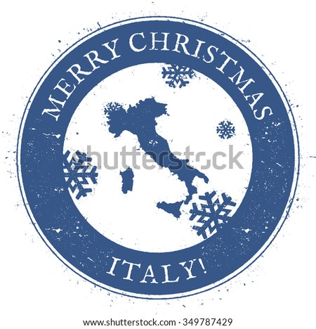 Vintage Merry Christmas Italy Stamp. Stylised rubber stamp with map of Italy and Merry Christmas text, vector illustration