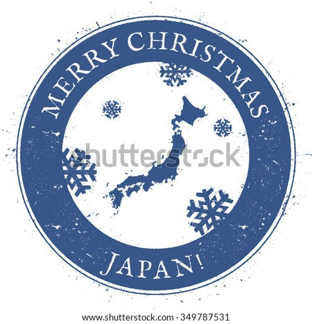 Vintage Merry Christmas Japan Stamp. Stylised rubber stamp with map of Japan and Merry Christmas text, vector illustration