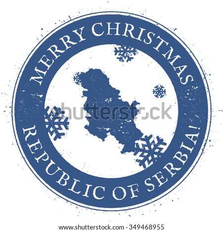 Vintage Merry Christmas Republic of Serbia Stamp. Stylised rubber stamp with map of Republic of Serbia and Merry Christmas text, vector illustration