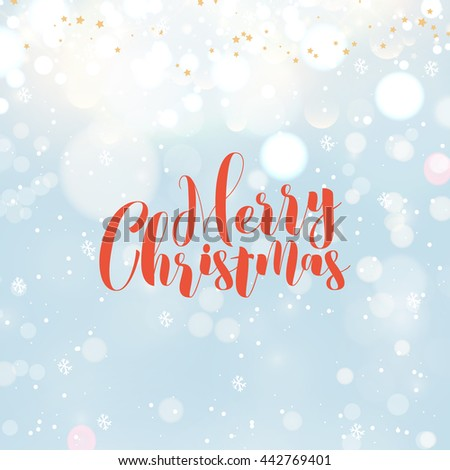 Vintage Merry Christmas Typographic Wishes and Winter Holiday Elements on blue background. Greeting hand drawn illustration for Xmas. Template for invitation, flyer, banner, poster, rooster year. - stock vector