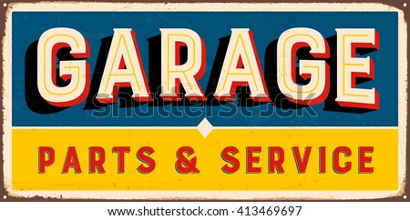 Vintage Metal Sign Garage Parts Service Stock Vector 413469697