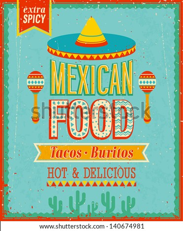 Vintage Mexican Food Poster. Vector illustration. - stock vector