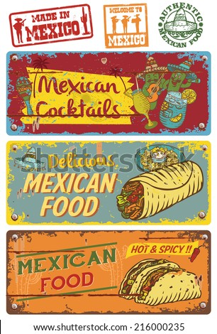 Vintage Mexican Food Sign - stock vector