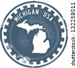Vintage Michigan USA State Stamp - stock vector