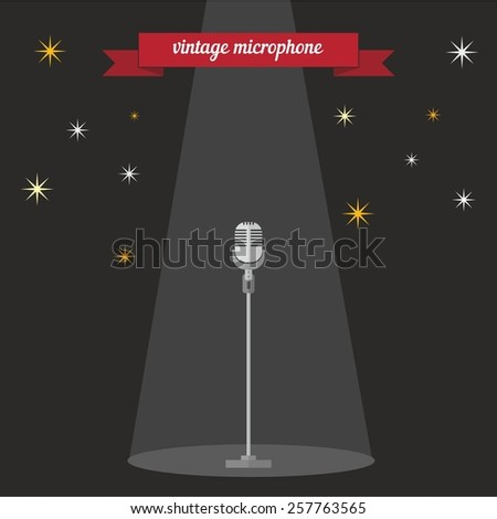 Vintage microphone. Flat style design - vector - stock vector
