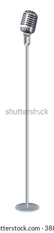 Vintage microphone with stand - stock vector