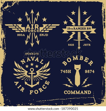 vintage military wing bomb anchor ( T-Shirt Print ) - stock vector