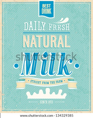 Vintage Milk card. Vector illustration. - stock vector