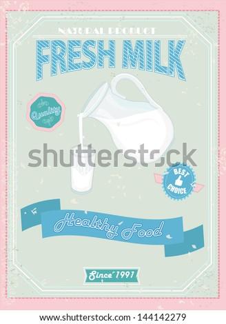 Vintage Milk card. Vector illustration. - stock vector
