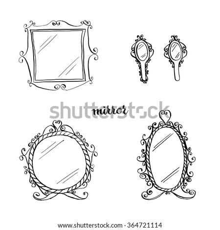 hand mirror sketch. Vintage Mirrors Doodle Style/ Furniture/ Interior Design Elements/ Hand Drawn Ink Sketch Mirror N