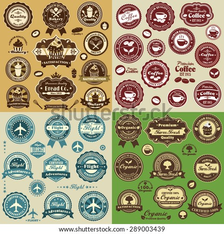 Vintage mix label design set with cupcake, coffee, flight, organic food
