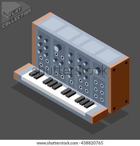Vintage Modular Synthesizer. Musical Equipment. 3D Isometric Low Poly Flat Design. Vector illustration.