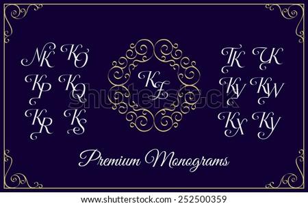 Vintage monogram design template with combinations of capital letters KN KO KP KQ KR KS KT KU KV KW KX KY KZ. Vector illustration. - stock vector