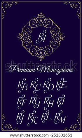 Vintage monogram design template with combinations of capital letters RA RB RC RD RE RF RG RH RI RJ RK RL RM. Vector illustration. - stock vector