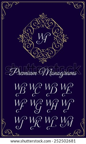 Vintage monogram design template with combinations of capital letters WA WB WC WD WE WF WG WH WI WJ WK WL WM. Vector illustration. - stock vector
