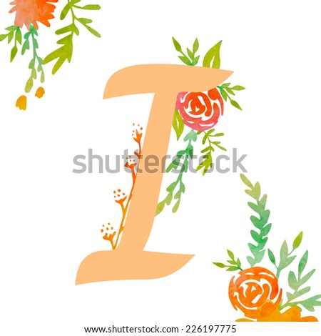 Vintage monogram I with decorative watercolor floral elements, roses and natural frame. Hand drawn vector alphabet part.  - stock vector