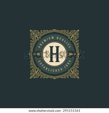 Vintage monogram logo template with flourishes calligraphic elegant ornament elements. Identity design with letter for cafe, shop, store, restaurant, boutique, hotel, heraldic, fashion and etc. - stock vector
