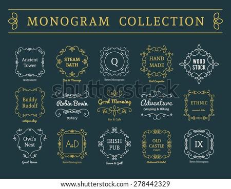 Vintage monogram set. Vector emblems for calligraphic luxury logos and retro ornamental design. - stock vector