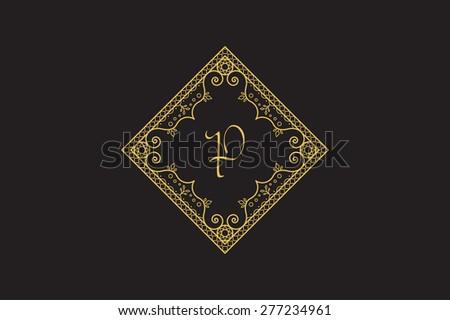 Vintage monogram. Vector frame for calligraphic luxury logos and retro ornamental design. - stock vector