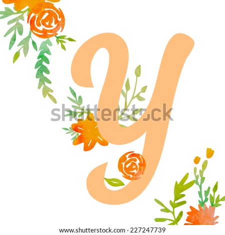 Vintage monogram Y with decorative watercolor floral elements, roses and natural frame. Hand drawn vector alphabet part.  - stock vector
