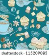 vintage morning tea background. seamless pattern for design,vector - stock photo