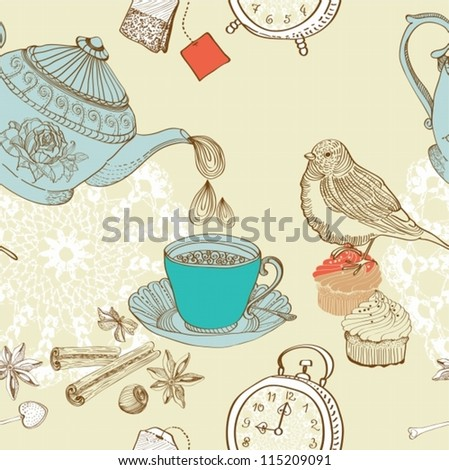 vintage morning tea background. seamless pattern for design,vector - stock vector