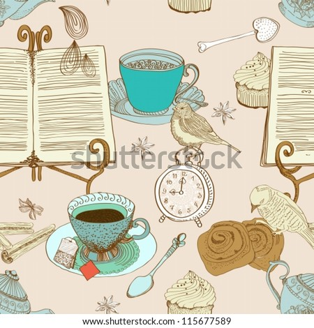 vintage morning tea background. seamless pattern for design,vector illustration - stock vector