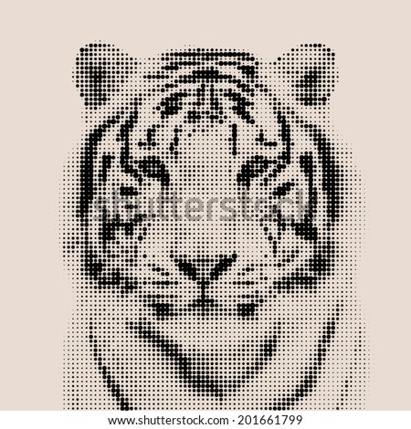 Vintage mosaic portrait of a bengal tiger. Wild beauty of the most dangerous and mighty beast.  Vector illustration. - stock vector