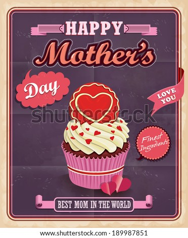 Vintage Mothers day with cupcake poster design - stock vector