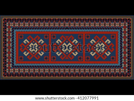 Vintage motley carpet with ethnic red pattern on the center  - stock vector