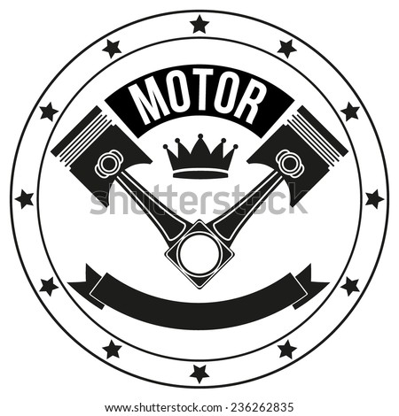 Vintage Motor Club Signs and Label with chain and pistons. Emblem of bikers and riders. - stock vector