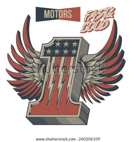 Vintage Motor Racing Number One Winged  - stock vector
