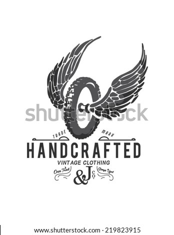 vintage motor wings - stock vector