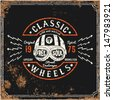 Vintage Motorbike Race | Hand drawing | T-shirt Printing | Badge Applique Label  - stock