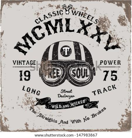 Vintage motorbike race hand drawing tshirt stock vector for Vintage t shirt printing